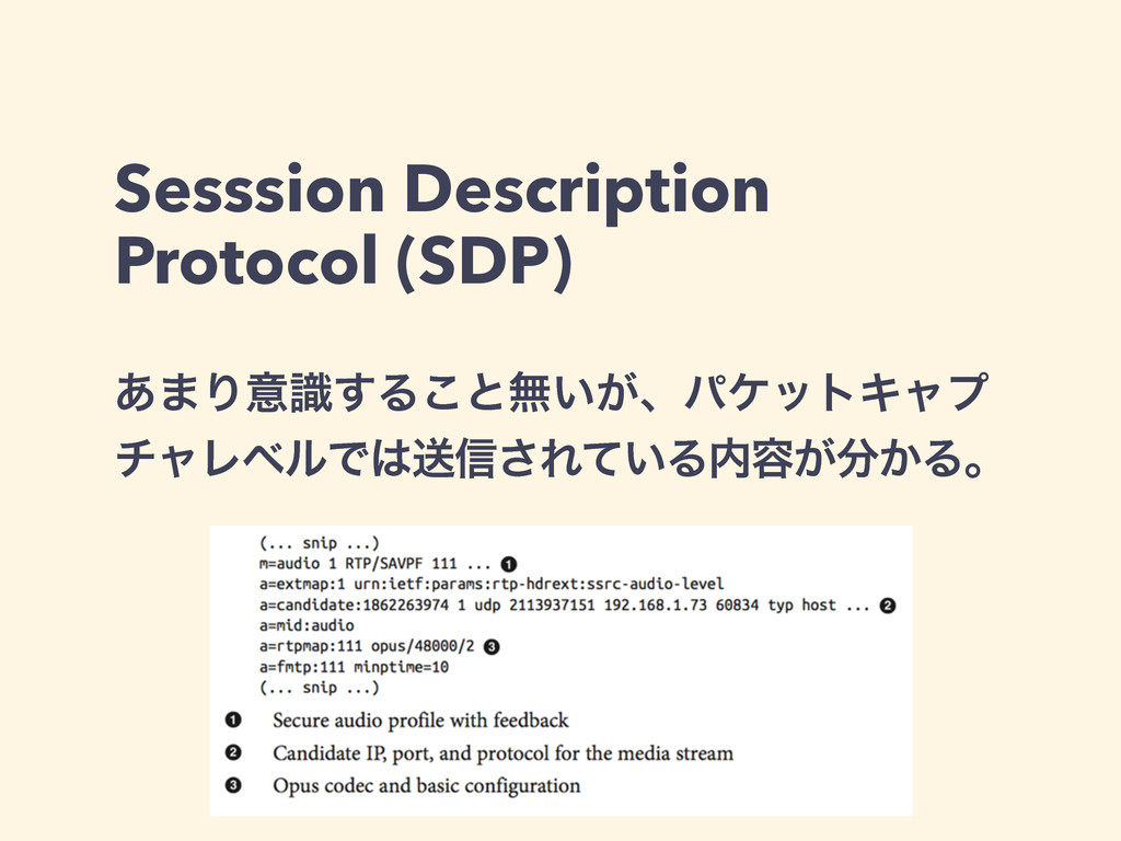 Sesssion Description Protocol (SDP) ͋·Γҙࣝ͢Δ͜ͱແ͍...
