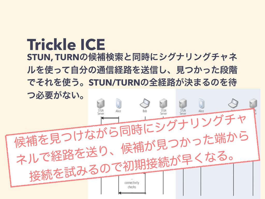Trickle ICE STUN, TURNͷީิݕࡧͱಉʹγάφϦϯάνϟω ϧΛͬͯࣗ...