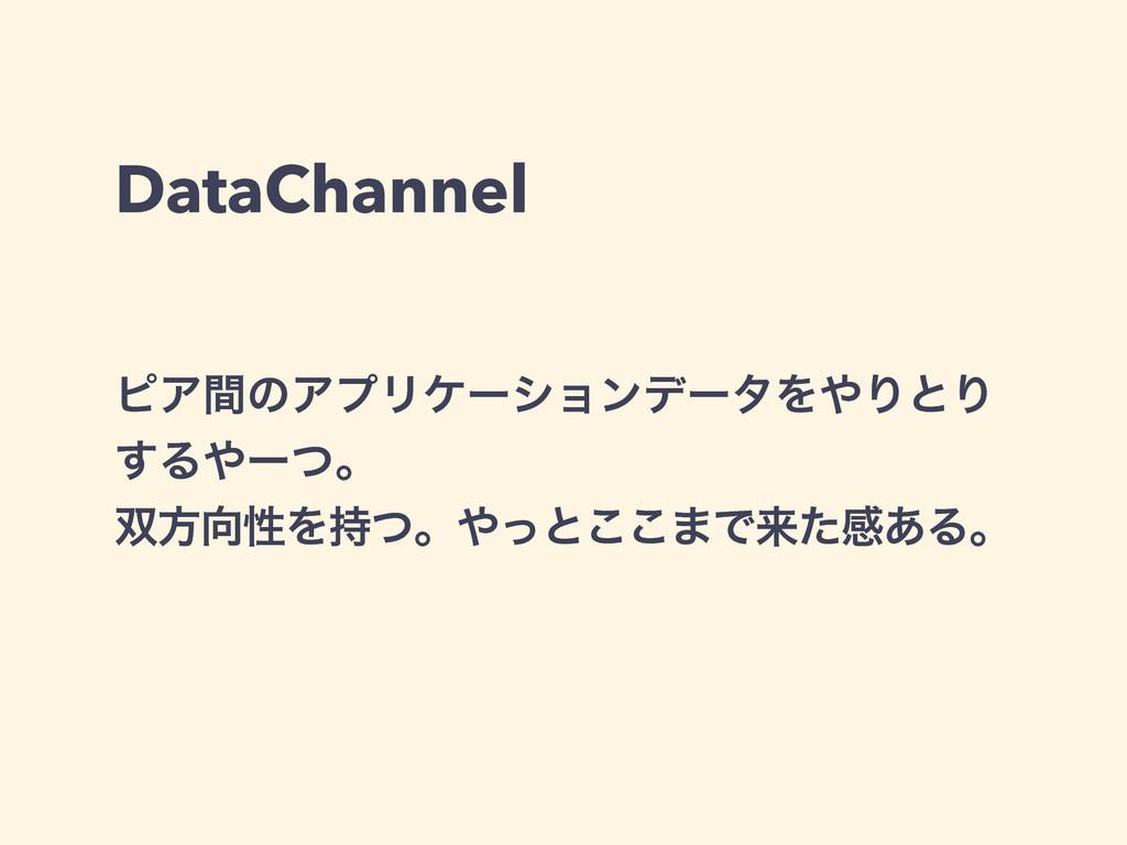 DataChannel ϐΞؒͷΞϓϦέʔγϣϯσʔλΛΓͱΓ ͢Δʔͭɻ ํੑΛͭ...