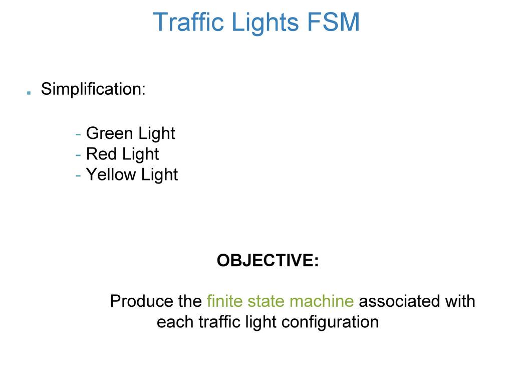 Traffic Lights FSM OBJECTIVE: Produce the finit...