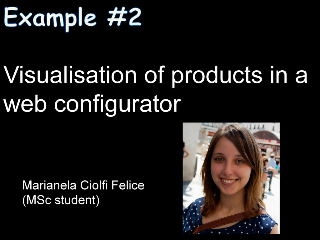 Visualisation of products in a web configurator...