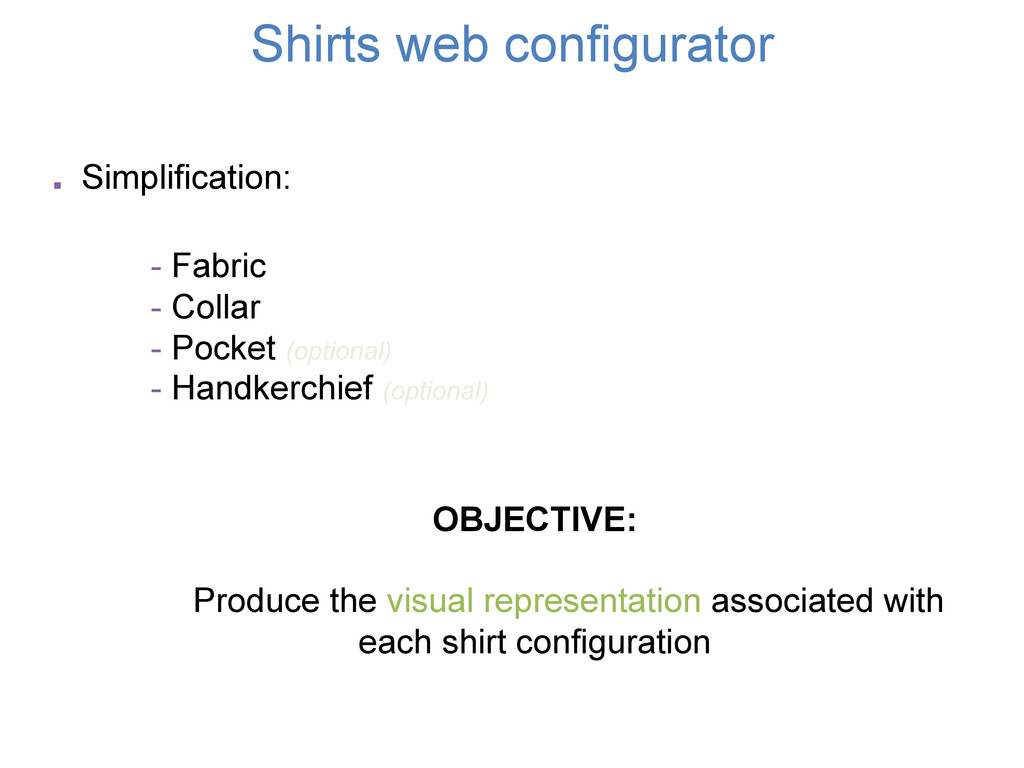 Shirts web configurator OBJECTIVE: Produce the ...