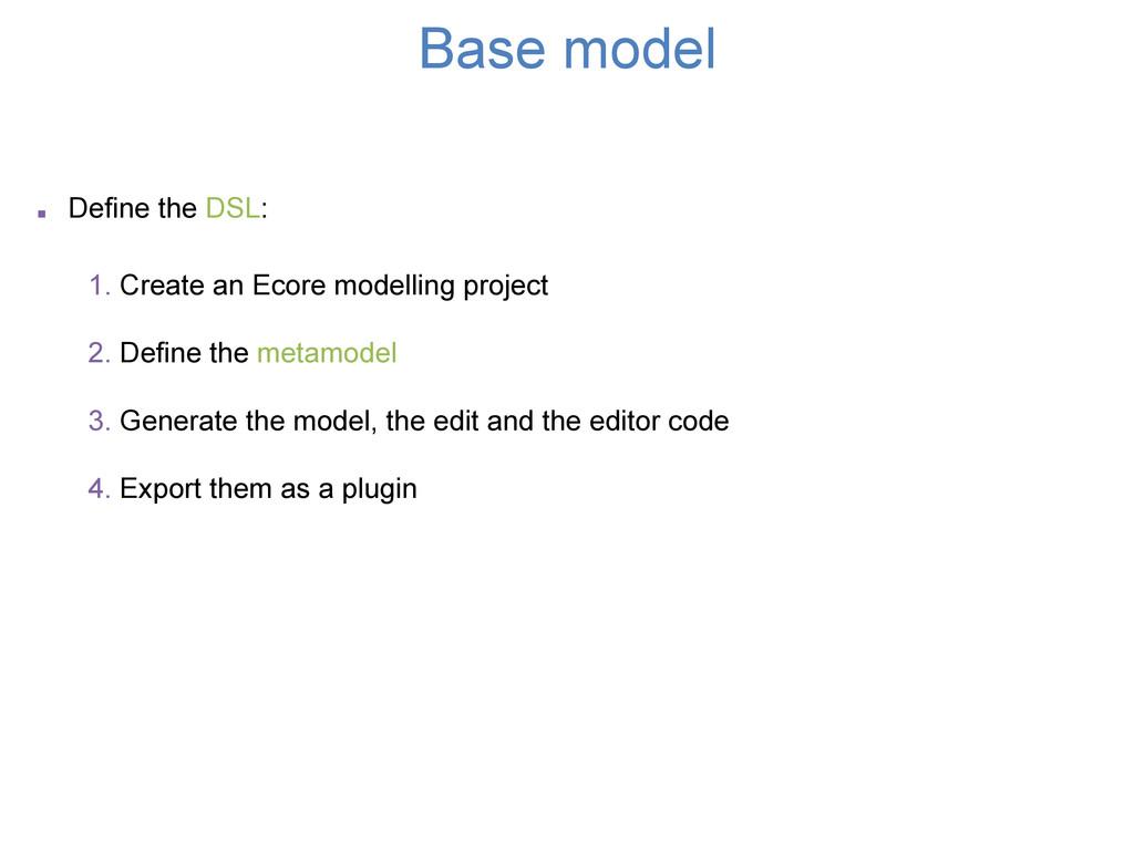 Base model . Define the DSL: 1. Create an Ecore...