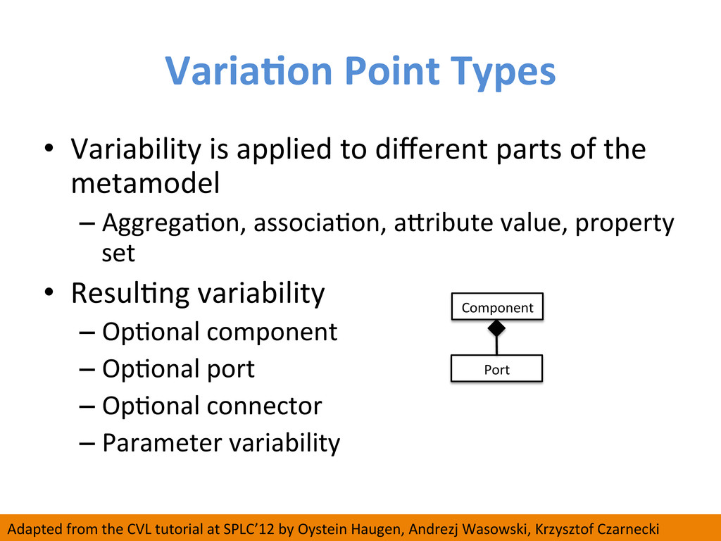 VariaCon Point Types  • Variability...