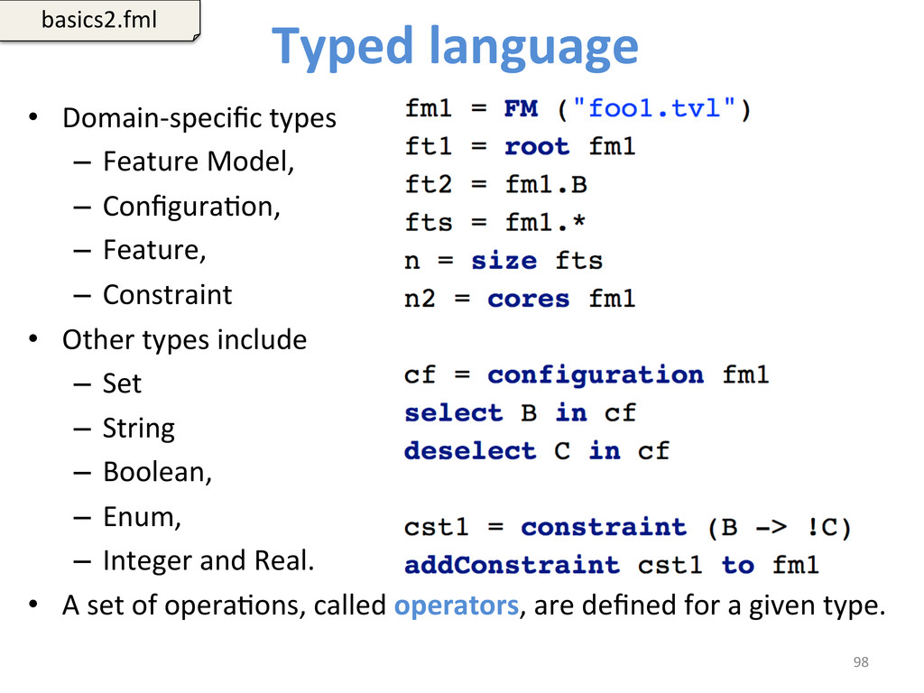 Typed language   • Domain-‐specific...