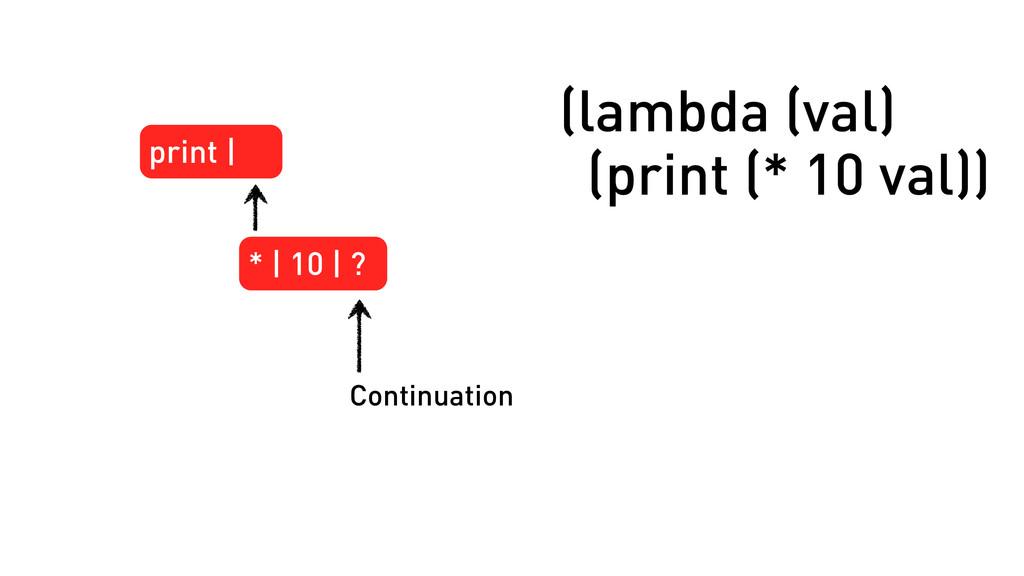 print | * | 10 | ? Continuation (lambda (val) (...