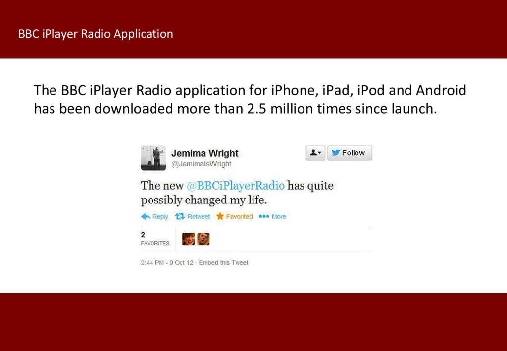 The BBC iPlayer Radio application for iPhone, i...