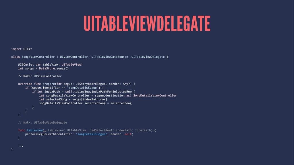 UITABLEVIEWDELEGATE import UIKit class SongsVie...