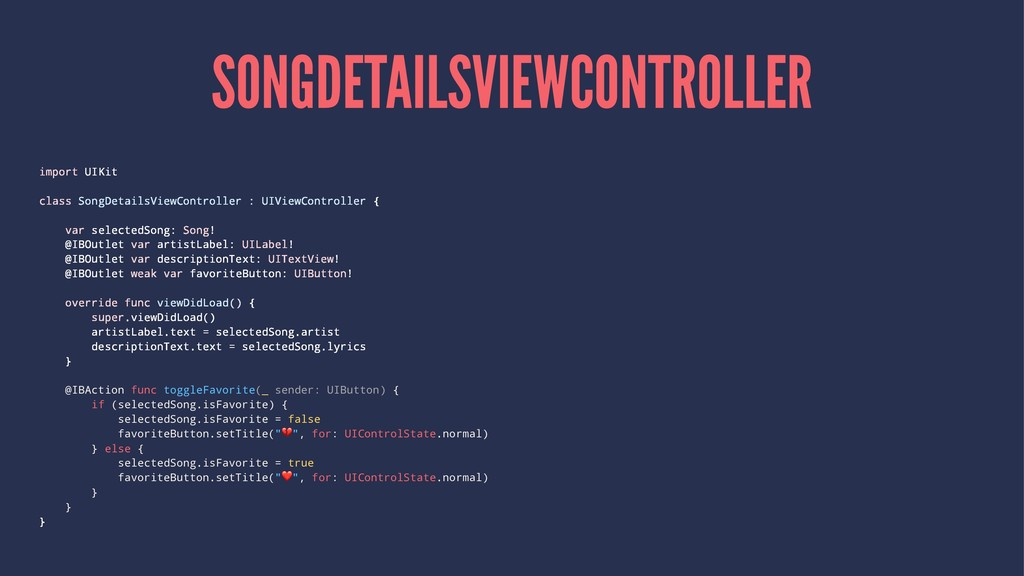 SONGDETAILSVIEWCONTROLLER import UIKit class So...