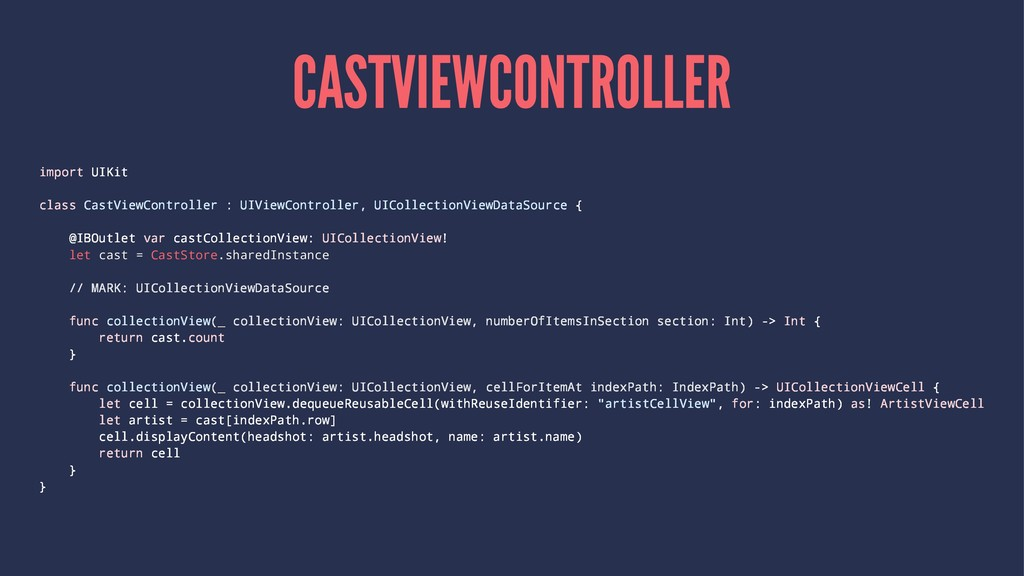 CASTVIEWCONTROLLER import UIKit class CastViewC...