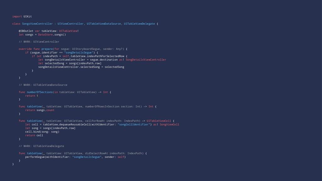 import UIKit class SongsViewController : UIView...
