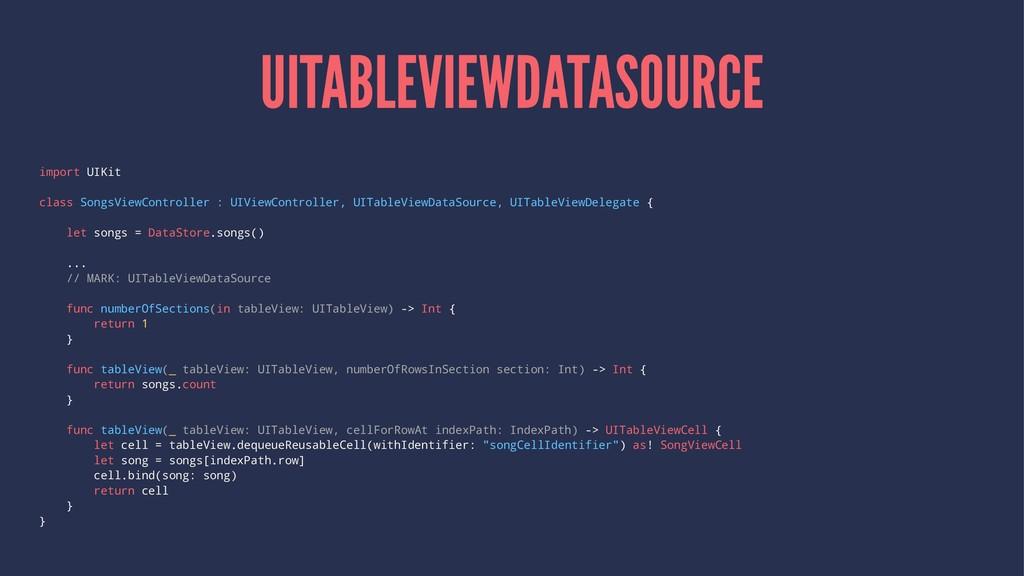 UITABLEVIEWDATASOURCE import UIKit class SongsV...