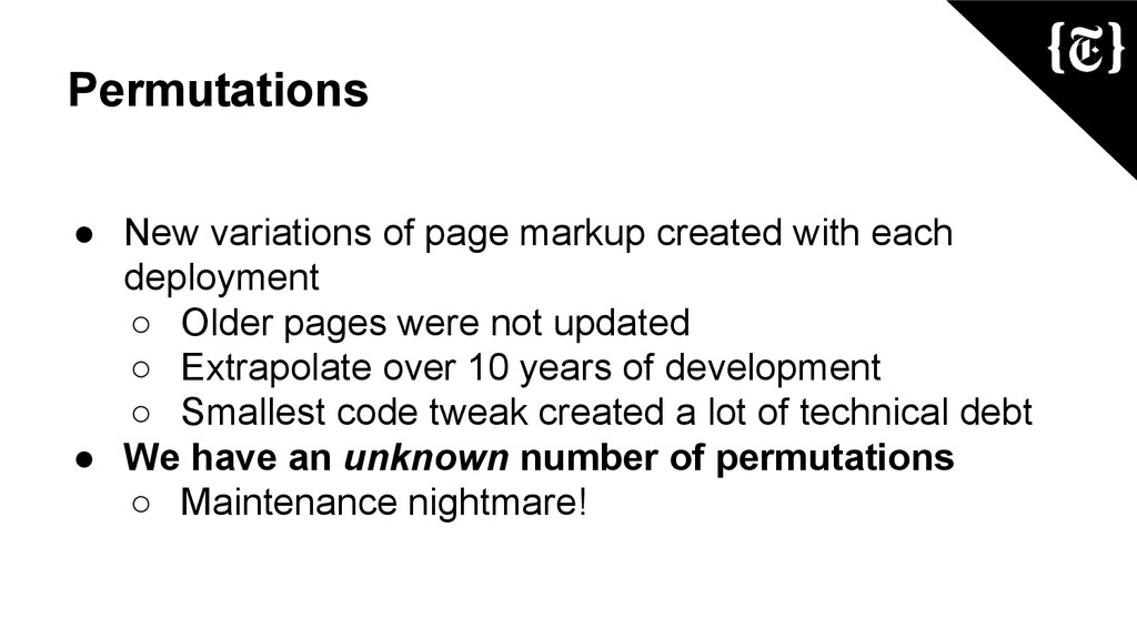 Permutations ● New variations of page markup cr...