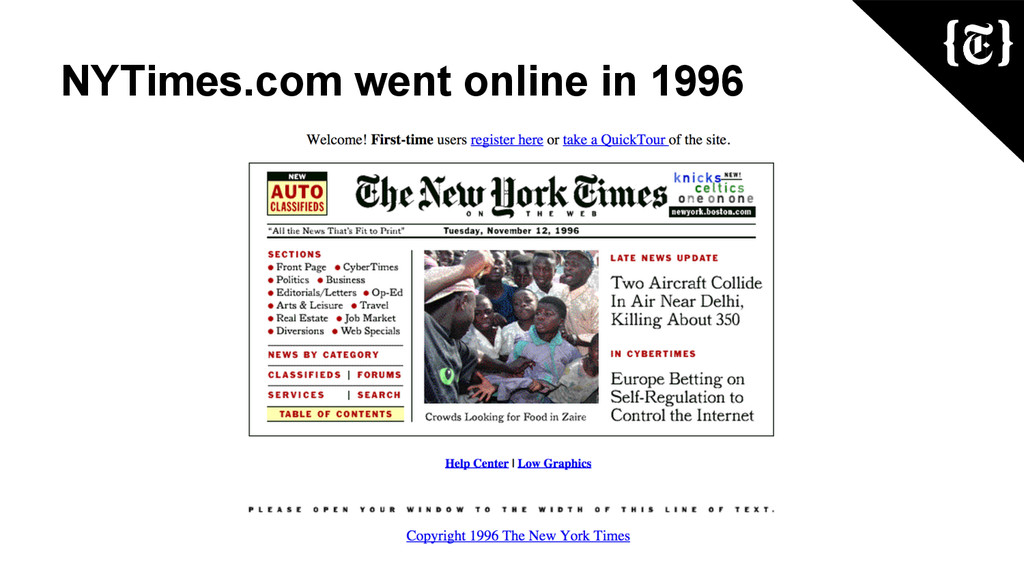 NYTimes.com went online in 1996