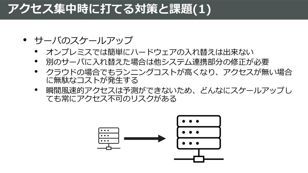 アクセス集中時に打てる対策と課題(1) • サーバのスケールアップ • オンプレミスでは簡単に...