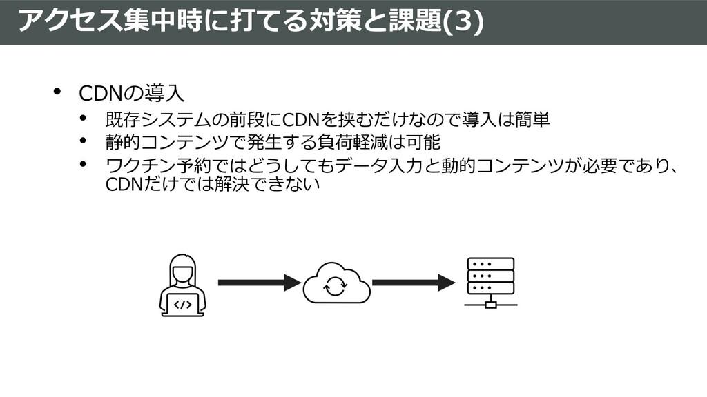 アクセス集中時に打てる対策と課題(3) • CDNの導⼊ • 既存システムの前段にCDNを挟む...