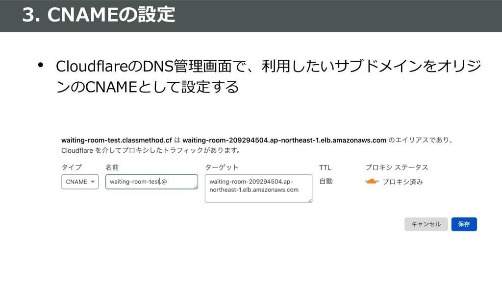 3. CNAMEの設定 • CloudflareのDNS管理画⾯で、利⽤したいサブドメインをオ...