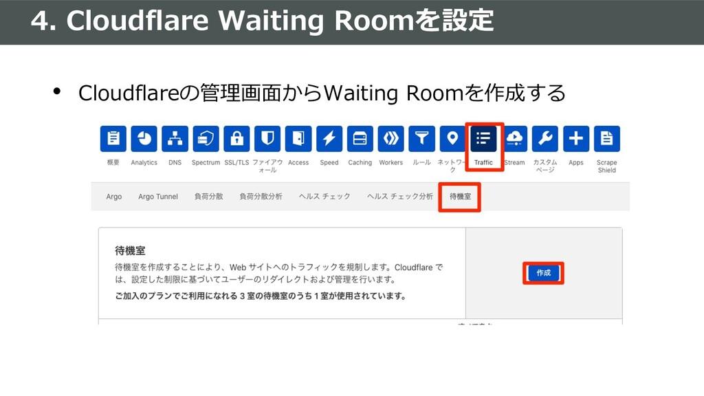 4. Cloudflare Waiting Roomを設定 • Cloudflareの管理画⾯...