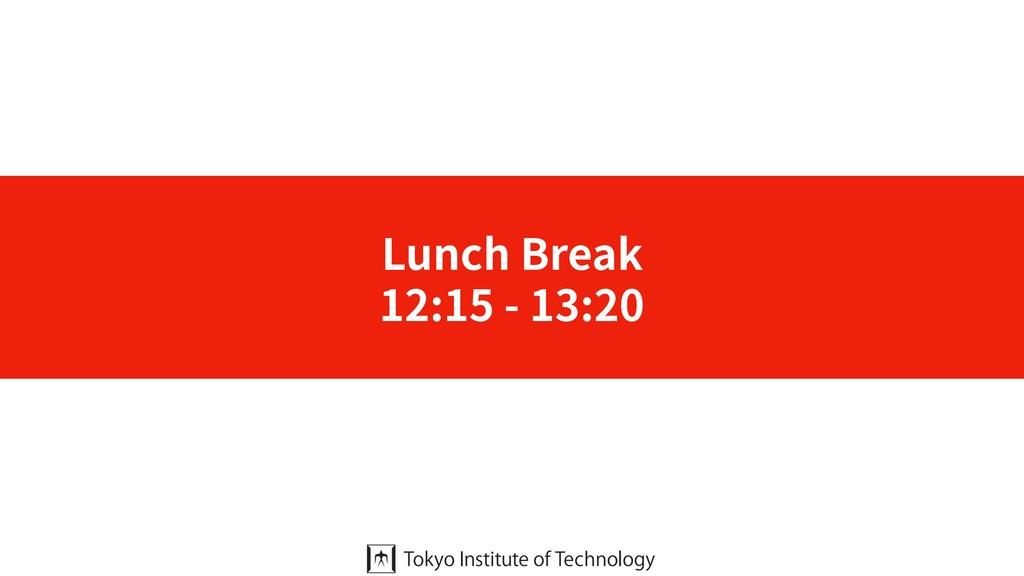 Lunch Break 12:15 - 13:20