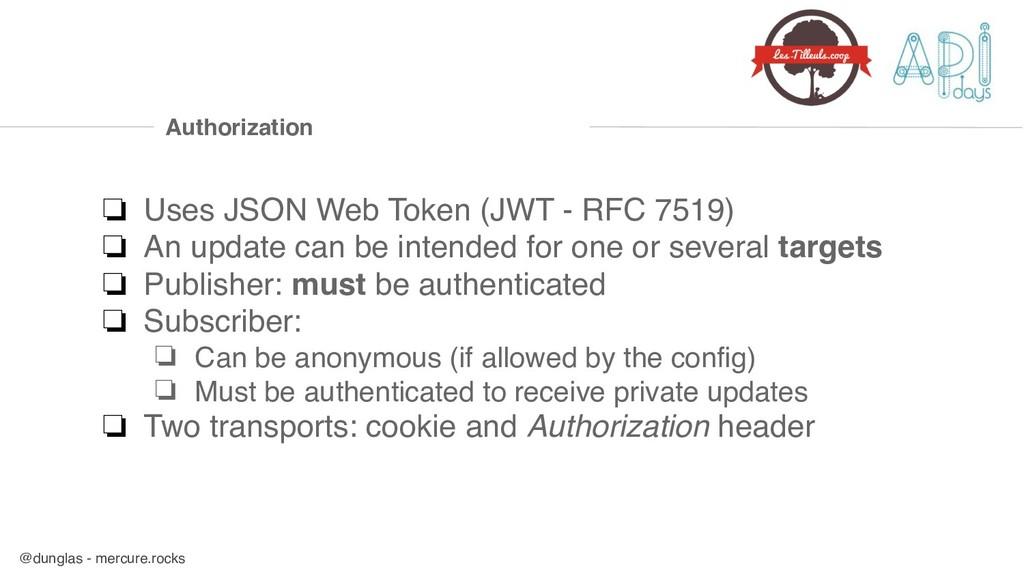@dunglas - mercure.rocks Authorization ❏ Uses J...