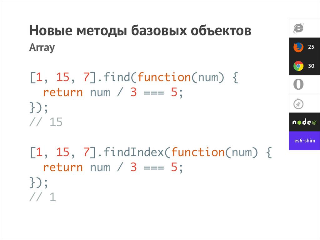 Новые методы базовых объектов Array [1, 15, 7]....