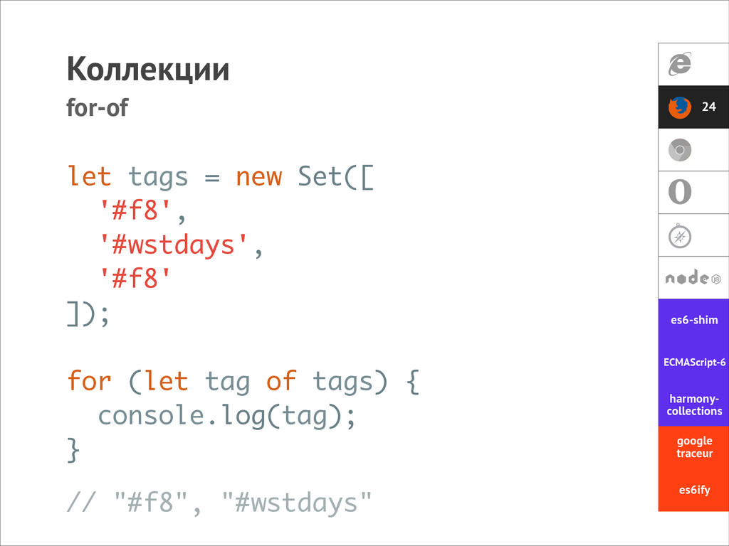 Коллекции for-of let tags = new Set([ '#f8', '#...