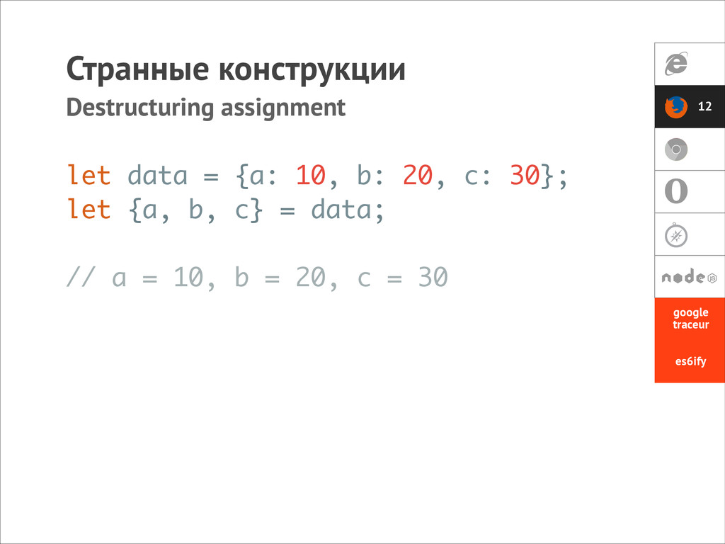 let data = {a: 10, b: 20, c: 30}; let {a, b, c}...