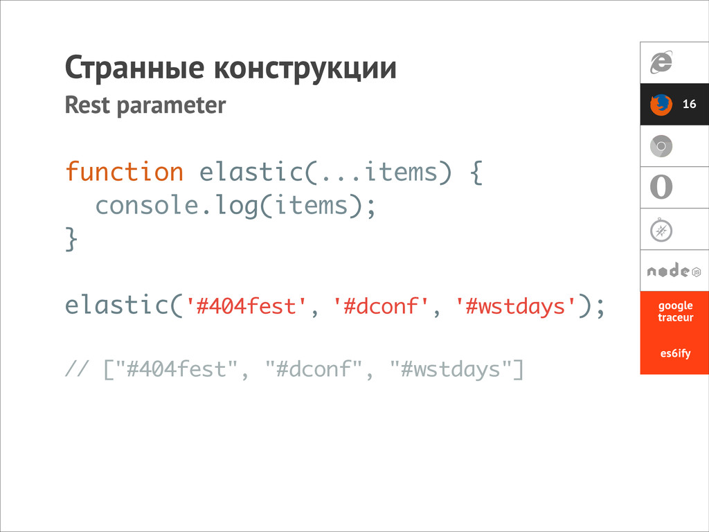 function elastic(...items) { console.log(items)...