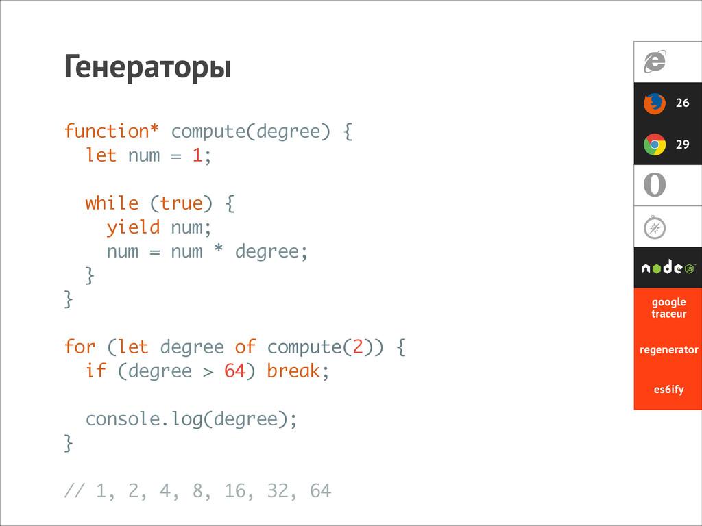 Генераторы 26 29 function* compute(degree) { le...
