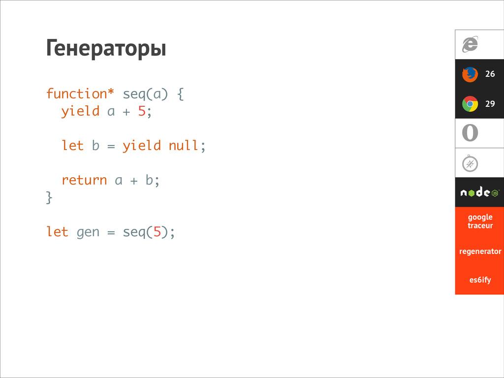 Генераторы function* seq(a) { yield a + 5; ! le...