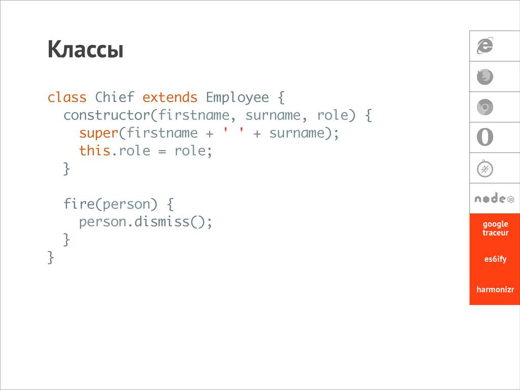Классы class Chief extends Employee { construct...