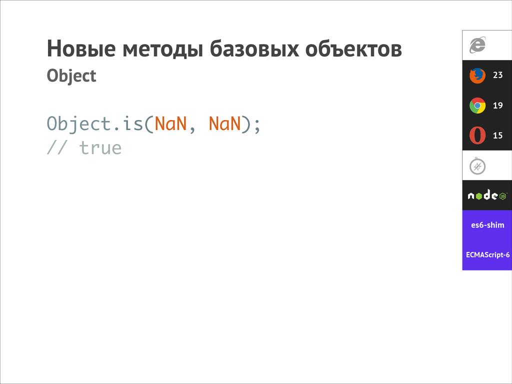 Новые методы базовых объектов Object Object.is(...