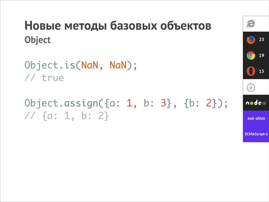 Новые методы базовых объектов Object Object.ass...