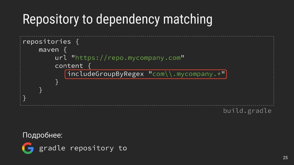 Repository to dependency matching 25 Подробнее: