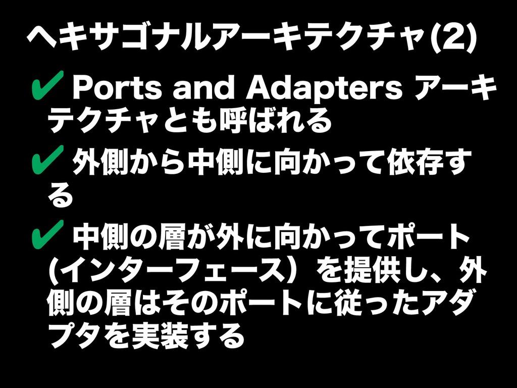 ヘキサゴナルアーキテクのバージョンアチャやパター(2) ✔ Ports and Adapter...