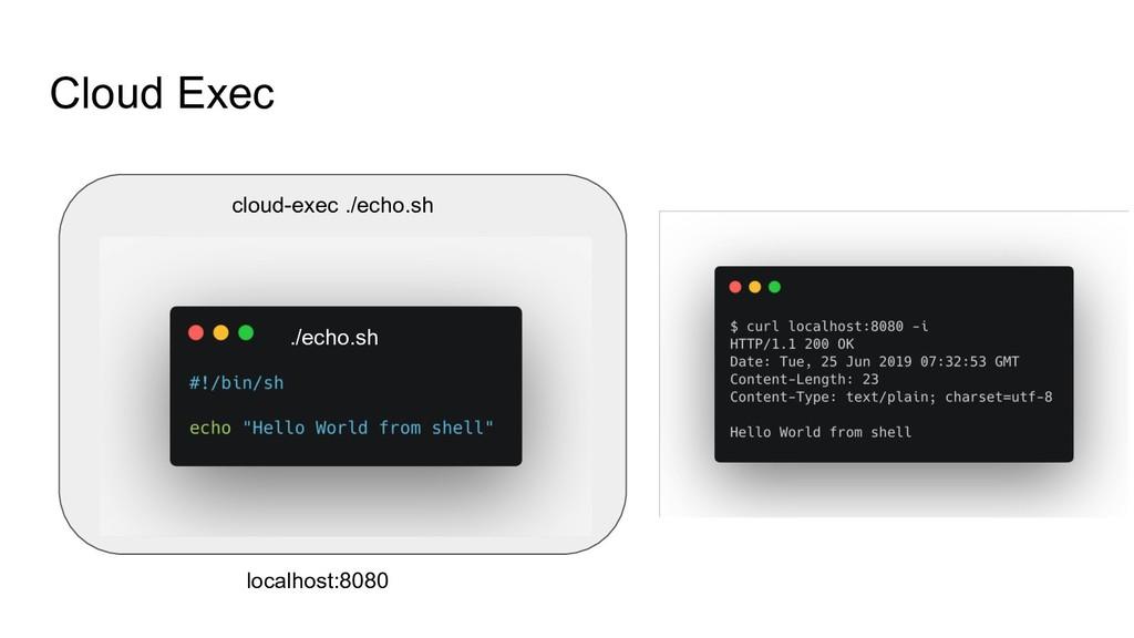 Cloud Exec cloud-exec ./echo.sh localhost:8080 ...