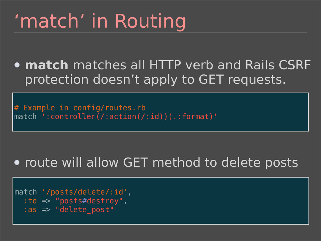 'match' in Routing 