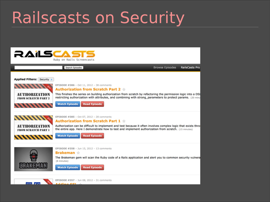 Railscasts on Security