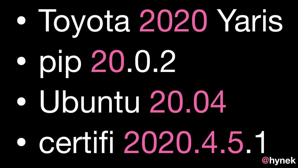 • Toyota 2020 Yaris  • pip 20.0.2  • Ubuntu 20....