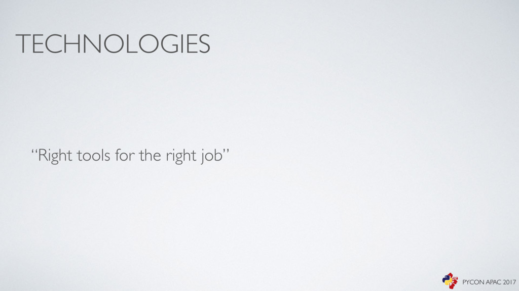 "TECHNOLOGIES ""Right tools for the right job"" PY..."