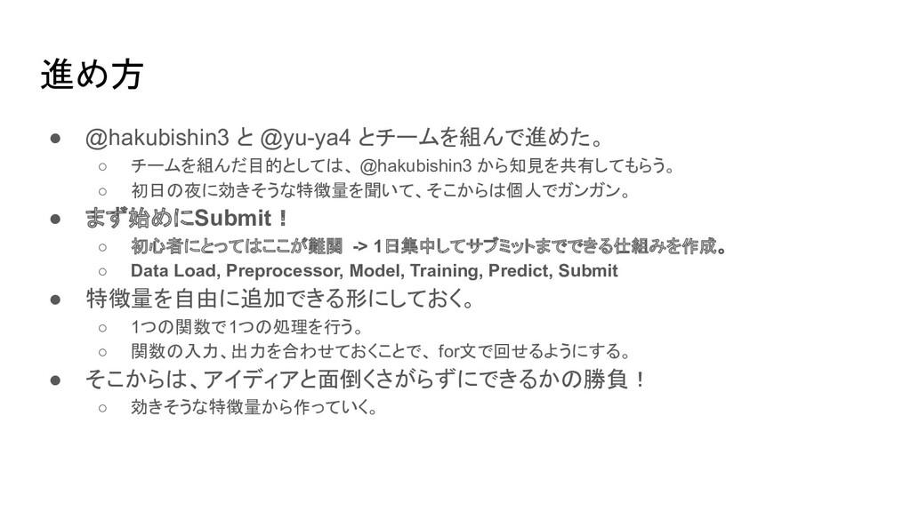 進め方 ● @hakubishin3 と @yu-ya4 とチームを組んで進めた。 ○ チーム...
