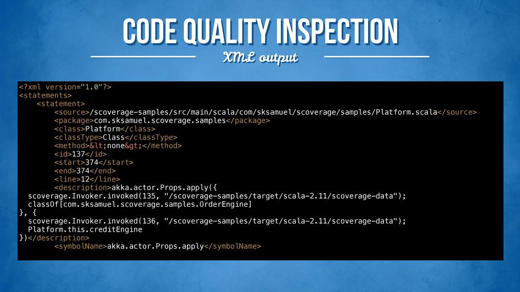 Code quality inspection XML output <?xml versio...