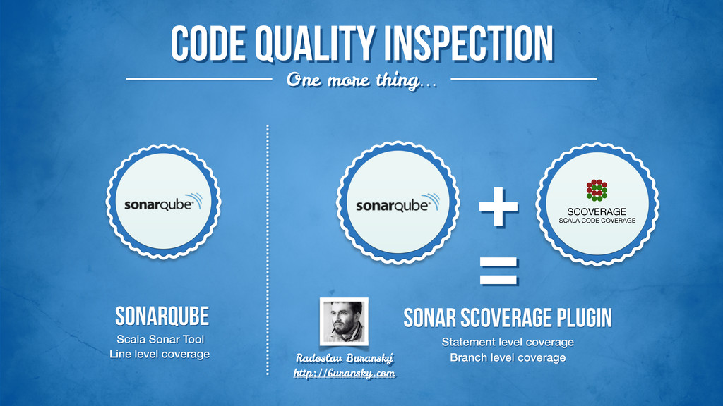 Code quality inspection One more thing… SonarQU...