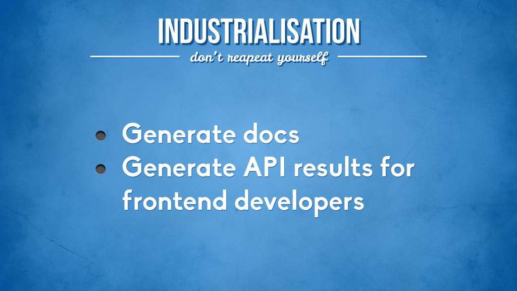 industrialisation don't reapeat yourself Genera...
