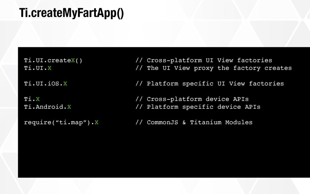 Ti.createMyFartApp() Ti.UI.createX() // Cross-p...