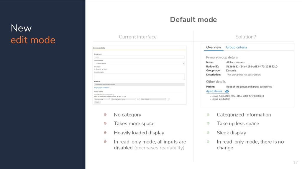 New edit mode 17 Default mode Current interface...