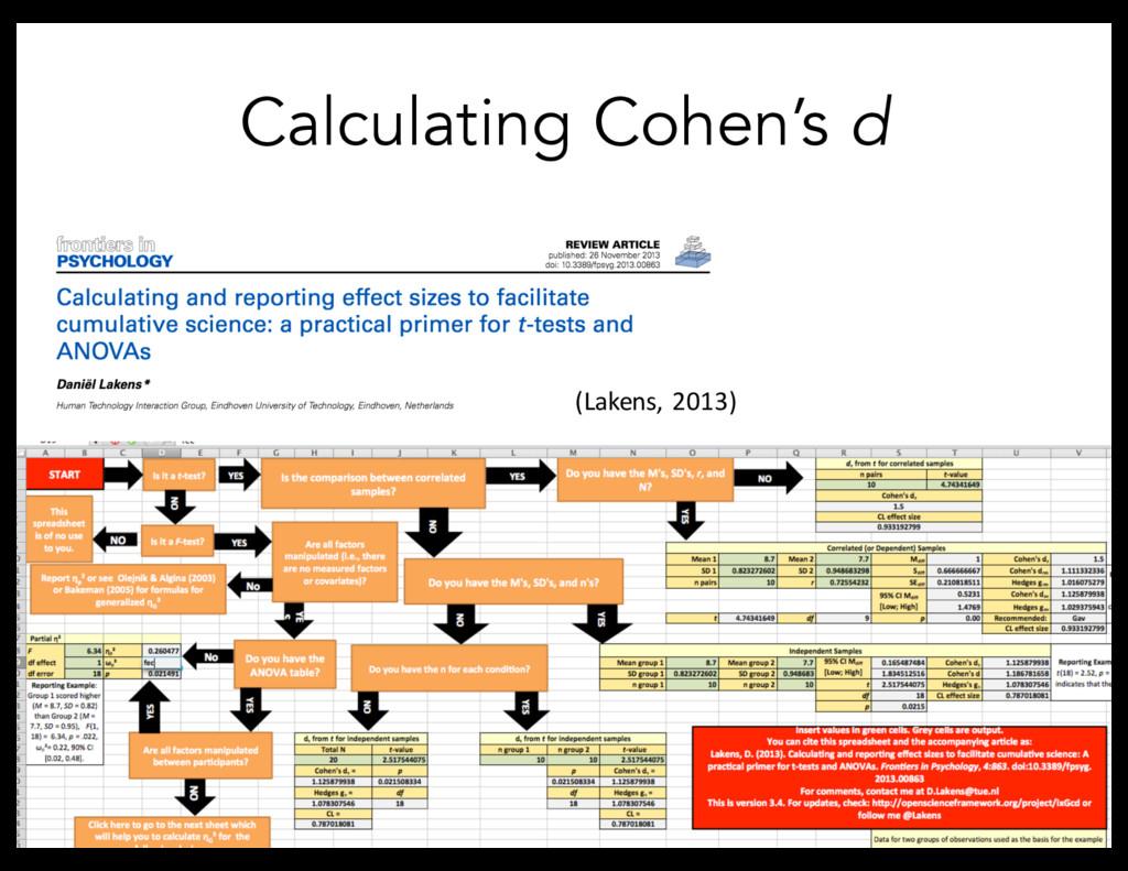 Calculating Cohen's d (Lakens, 2013)