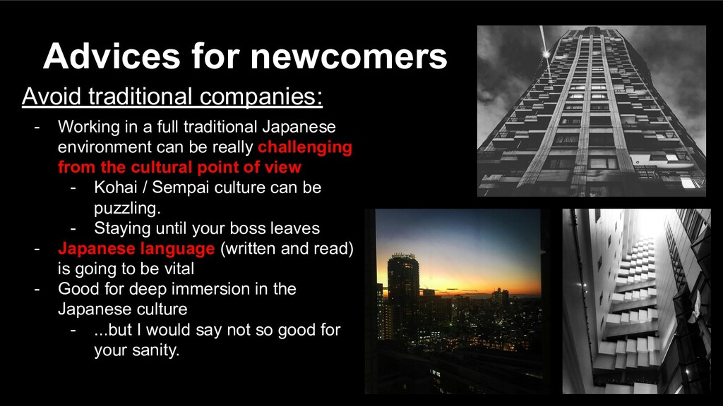 Avoid traditional companies: - Working in a ful...