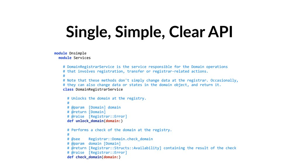 Single, Simple, Clear API module Dnsimple