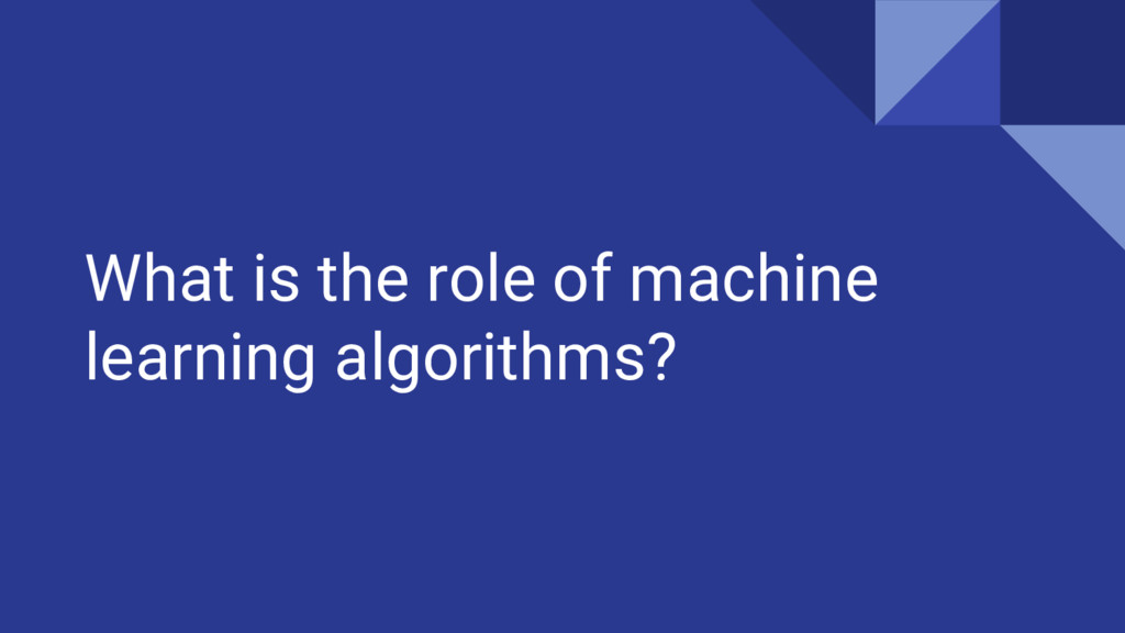 What is the role of machine learning algorithms?